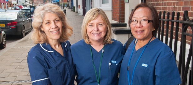 Nurse Of The Year 2016: Bank Nurse Award nominee AMANDA WALSH from Reading, Berkshire.Pictured: Amanda Walsh, centre, and her team:Left is nurse Zahra Eshtiaghi. On the right is nurse Chris Lupton. They are posing with the mobile health check casePic: Chris Balcombe07568 098176Office: 023 80 849187